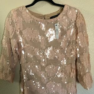 NWT Ark & Co blush pink sequin dress, size medium